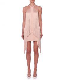 Stella McCartney Sleeveless Illusion Wing Fringe Stretch-Cady Mini Dress at Neiman Marcus