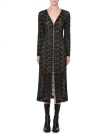 Stella McCartney V-Neck Hook-Front Long-Sleeve Lace Midi Dress at Bergdorf Goodman