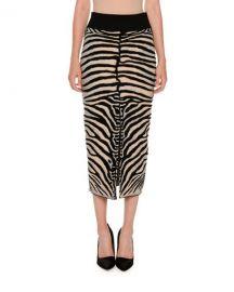 Stella McCartney Zebra-Print Slim Slit-Back Skirt  Multicolor at Neiman Marcus