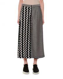 Stella McCartney Zigzag  amp  Stripe Mixed-Print Wide-Leg Silk Culotte at Neiman Marcus