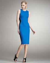Stella McCartney blue and black Colorblocked Sheath Dress at Bergdorf Goodman