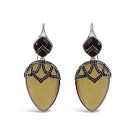 Sterling Silver Quartz & Calcite Dangle Earrings by Bellus Domina at Wolf and Badger
