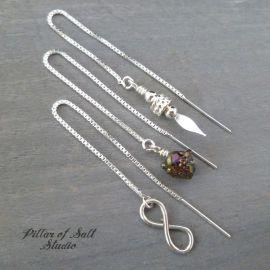 Sterling Silver Spear Threader Earrings at Pillar of Salt Studio