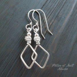 Sterling Silver diamond shape Wire Wrapped Earrings at Pillar of Salt Studio