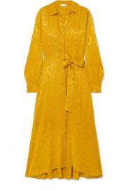 Stine Goya - Baily belted satin-jacquard midi dress at Net A Porter