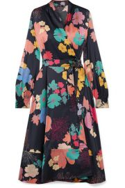 Stine Goya - Reflection floral-print silk-blend charmeuse wrap dress at Net A Porter