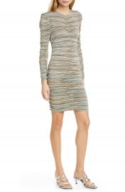Stine Goya Blake Metallic Stripe Ruched Long Sleeve Dress   Nordstrom at Nordstrom