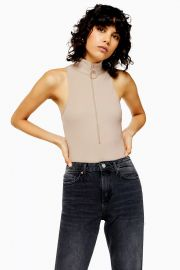 Stone Ring Pull Funnel Neck Bodysuit at Topshop