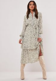 Stone Snake Print Midi Shirt Dress  at Missguided