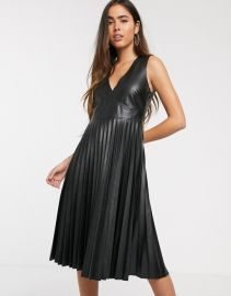 Stradivarius pleated faux leather dress in black   ASOS at Asos