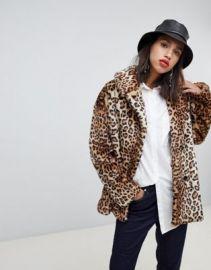 Stradivarius leopard double breasted faux fur coat   ASOS at Asos