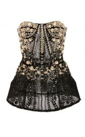 Strapless Crystal-Embellished Tulle Top at Moda Operandi