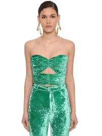 Strapless Draped Velvet Top by The Attico at Luisaviaroma