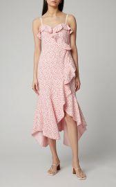 Strapless Ruffled Lace Midi Dress at Moda Operandi
