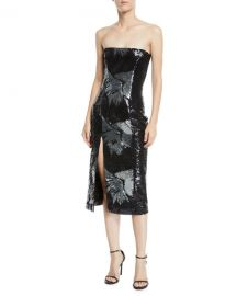 Strapless Starburst-Sequin Fitted Cocktail Midi Dress by Halpern at Bergdorf Goodman