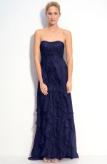 Strapless navy gown with ruffles at Nordstrom