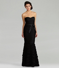 Strapless ruched gown by JS Collections at Dillards