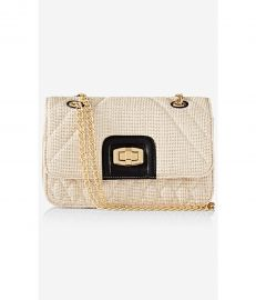 Straw Quilted Chain Strap Shoulder Bag at Express