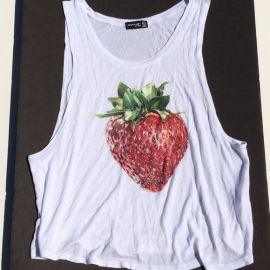 Strawberry Rhinestone tank at Poshmark