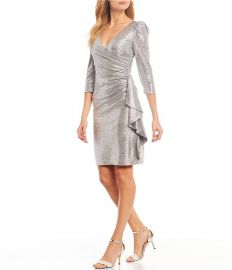 Stretch Metallic Faux Wrap Ruffle Puff Sleeve Dress by Betsy Adam at Dillards