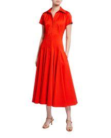 Stretch Pique Tea-Length Dress at Neiman Marcus