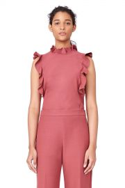 Stretch Suiting Ruffle Top by Rebecca Taylor at Orchard Mile