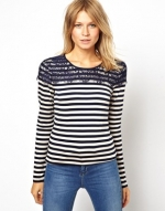 Strip and lace top by OASIS at Asos