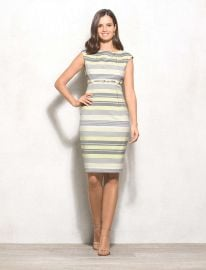 Stripe Belted sheath dress at Dressbarn
