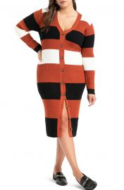 Stripe Cardigan Long Sleeve Sweater Dress at Nordstrom