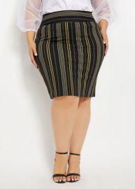 Stripe Crepe Pull-On Skirt by Ashley Stewart at Ashley Stewart