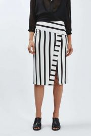 Stripe Detailed Midi Skirt at Topshop