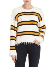 Stripe Distressed Crew Neck Sweater by Lush at Nordstrom