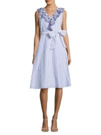 Stripe Eyelet Ruffle Cotton Dress by Draper James at Saks Off 5th