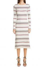 Stripe Long Sleeve Silk & Cashmere Midi Sweater Dress at Nordstrom