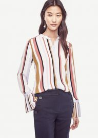 Stripe Pleated Cuff Blouse at Ann Taylor