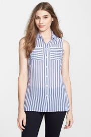 Stripe Sleeveless Shirt Regular andamp Petite at Nordstrom Rack