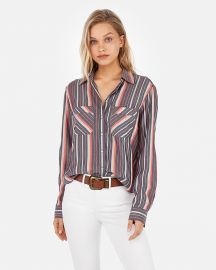 Stripe Two-Pocket Silky Soft Twill Shirt at Express