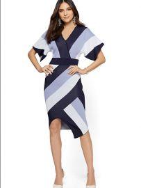 Stripe Wrap Sweater Dress at NY&C