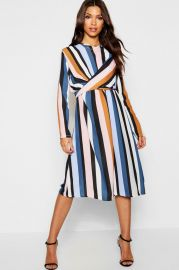 Stripe Wrap Woven Tie Waist Detail Dress at Boohoo