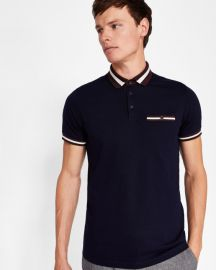 Stripe collar polo shirt at Ted Baker