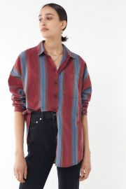 Striped Twill Button-Down Shirt at Urban Outfitters