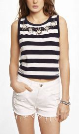 Striped Bead Embellished Tank at Express