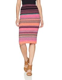 Striped Body Con Knit Pencil Skirt at Amazon