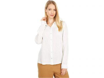 Striped Button Down Cotton Shirt by Eileen Fisher at Zappos