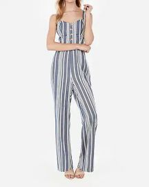 Striped Button Front Cut-Out Tie Back Jumpsuit at Express