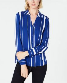 Striped Button-Front Shirt by INC International Concepts at Macys