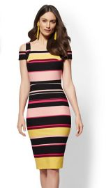 Striped Cold-Shoulder Sheath Dress at NY&C