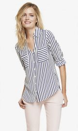 Striped Convertible Sleeve Shirt at Express