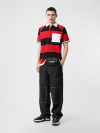 Striped Cotton Pique Oversized Polo Shirt at Burberry