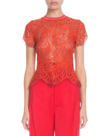 Striped Crewneck Short-Sleeve Lace-Guipure Top at Bergdorf Goodman